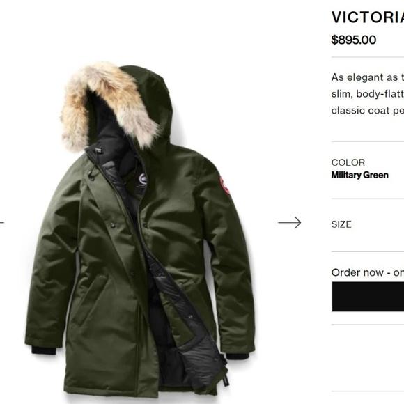 f2d8430b74a5 Canada Goose Victoria Down Parka Coyote Fur Green